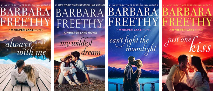 The book covers for the Whisper Lake Series by Barbara Freethy