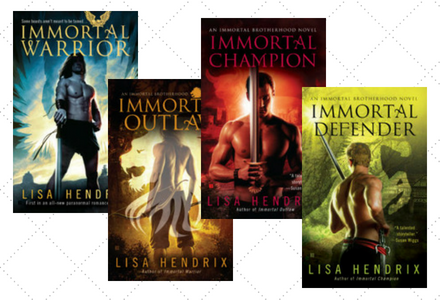 Click here to see the individual book pages for the Immortal Brotherhood Series by Lisa Hendrix!