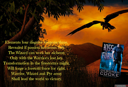 Graphic that tells the prophecy that is about book 2, Kiss of Fury.