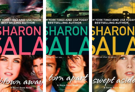 2010 Book Covers for the Storm Front Series by Sharon Sala. Blown Away, Torn Apart, Swept Aside are romantic suspense novel based in the wake of a hurricane!